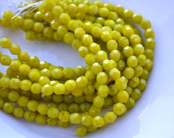 Chartreuse 6mm Faceted Fire Polish Round Czech Glass Beads  25