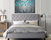 """Original oil painting teal Modern wall Art abstract landscape painting flowers palette knife Canvas wall art """"After the Rain"""" by QIQIGallery"""
