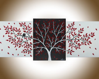 "Red black white birds painting Set of 3 Wall art wall decor wall hanging Palette Knife painting on canvas ""Passionate Love"" by qiqigallery"