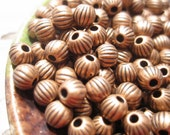 50% Off Beads, Antique Copper, 100 pcs Antique Copper Fluted Round Beads, 4mm with a 1mm hole, MB1061 F16