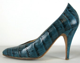 Vintage 80s Maude Frizon Alligator Shoes 6 B Bluish Green High Heels