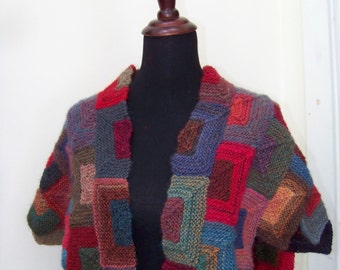 Handknit Patchwork Square Shawl Wrap Wool Blend