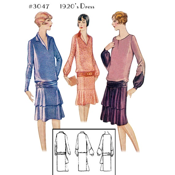 1920s Patterns – Vintage, Reproduction Sewing Patterns  1920s Long Sleeve Dress #3047 - INSTANT DOWNLOAD $9.50 AT vintagedancer.com