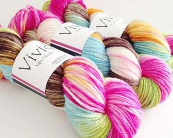 Hand Dyed Yarn - Crazy like a Fox - Superwash Merino Worsted - Ready to Ship - Vivid Yarn Studio