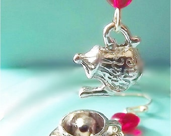 Alice in Wonderland Earrings, Tea Pot Earrings, Tea Cup Earrings, Silver Earrings, Dangle Earrings, Tea Party Gift, Tea Party Jewelry