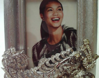 Upcycled Rhinestone Picture Frame Small Standing Frame Silver