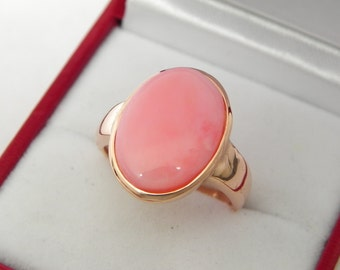 AAAA Pink Opal from Chile 16x12mm in 14K Rose gold ring, also available in White gold 0717