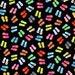 Timeless Treasures Multi-colored Flip Flps on Black C3749 Cotton Fabric