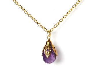 Amethyst stone pendant golden necklace