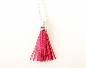 Pink vegan leather tassel long ball chain silver pendant necklace