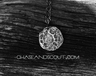 Sterling Silver Moon Necklace, Lunar Landscape Pendant, Silver Moon Charm, Winter Solstice, Neo Pagan, Authentic Handmade Austin Texas