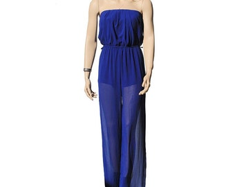 Royal Blue Chiffon Strapless Jumpsuit