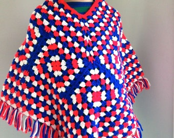 Vintage girls poncho crochet red white and blue size 7
