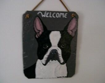 Boston Terrier Welcome Slate