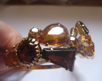 DeLizza & Elster aka Juliana Hinged Gold Tone Clamper Bracelet with Shades of Topaz Page 298 Ann Pitmans Book