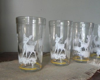 Vintage deer jelly jar glasses cute whimsy white and yellow