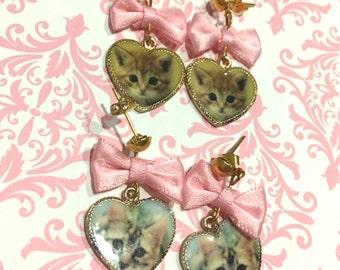 Kitten Heart Charm Bow Dangle Earrings