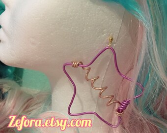 80's Star Colorful Wire Fairy Kei Earrings