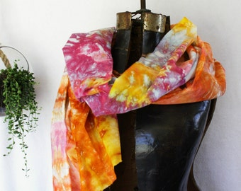 Coral PInk Peach Gold Hand Dyed Pareo Wrap Scarf 30x72 Cotton Voile Ice Dyed Ranunculus Pareo1