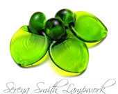 3 Flat Leaf Glass Leaves Artisan Lampwork Beads in Transparent Green