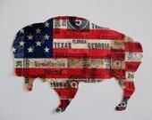 "Americana Flag Iron On Buffalo 6"""