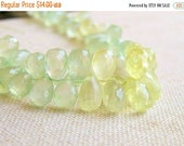 Clearance SALE Prehnite Gemstone Teardrop Briolette Green Faceted 8.5 to 9.5mm 14 beads