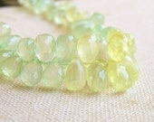 Prehnite Gemstone Teardrop Briolette Green Faceted 8.5 to 9mm 23 beads