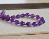 Amethyst Gemstone Faceted 3D Tear drop Briolette 10.5 to 11.5mm 5 beads