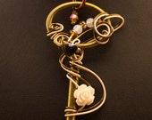 Wire Wrapped Brass Key Pendant