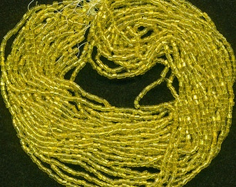 Vintage Golden Yellow Bugle Beads Silver Lined 12 Strand Hank Approx Size #1