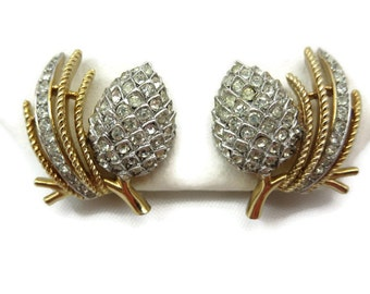 Trifari Rhinestone Earrings - Gold and Silver Pine Cones, Pave, Costume Jewelry, Bridal