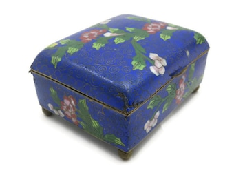 Cloisonne Box -  Chinese Enamel Trinket Box, Blue