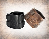 Leather Cuff, Leather Wristband, Adjustable Leather Cuff, Leather Bracelet, Black Leather Cuff, Wolf Paw - Custom to You (1 cuff only)