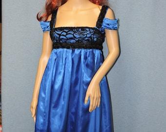 Custom Made Pride + Prejudice + Zombies Blue and Black empire waist gown Jane Austen