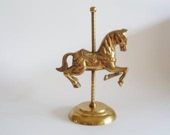 Vintage Brass Horse Carousel