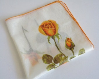 Vintage Orange Rose Handkerchief