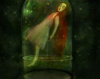 ON SALE Sorrow Seeping 11X14 print  - melancholy girl in belljar sleepwalking green art inner strength - art by Lisa Falzon
