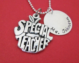 personalized special teacher necklace