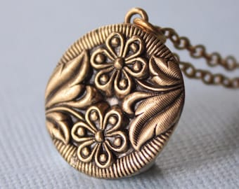 Bronze Floral Necklace Bronze Pendant Layered Necklace Flower Jewelry Large Circle Pendant Necklace Flower Necklace Daisy Necklace