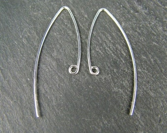 Sterling Silver V Shape Ear Wire ~ PAIR (CG5847)