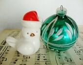 vintage white bird in santa cap holiday decor avon perfume