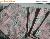 "SALE 10% OFF Set of 6 11""  Flannel Cloth Napkins Perfect for Everyday Blush and Cream Floral Print"