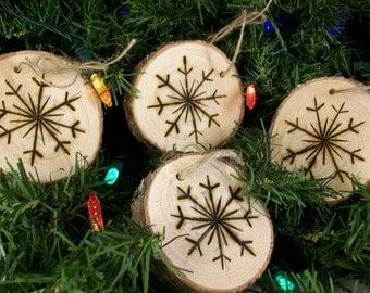 Christmas Ornament, Primitive Woodburnt SnowFlake Wood Slice  Set of 4