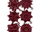 Dresdens Germany 6 Heavily Embossed Die Cut Burgundy Medallions  DF 7219 BU