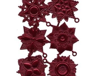 Dresdens Germany 6 Paper Foil Die Cut Burgundy Medallions  DF 7219 BU