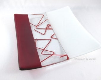 Square Fused Glass Plate Red Bent Stringer Serving Tray