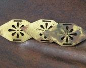 3 Vintage brass plates flower cut out heavily aged belt links