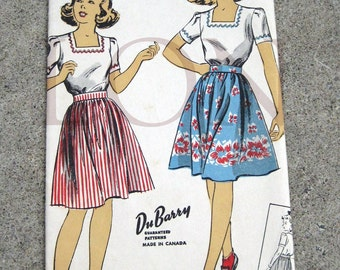 1940s 50s Du Barry sewing pattern 5633 Teen blouse and skirt size 12 unmarked pattern