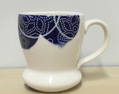 handmade porcelain mug: Dot Dot Pinwheel cup by Meredith Host Blue and White