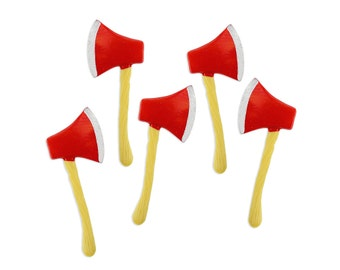 Hatchet Toppers - 12 vintage inspired red hatchet cupcake or cake toppers